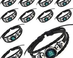 Bracelet cuir signe astrologique du Lion