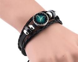 Bracelet cuir signe astrologique de la Balance