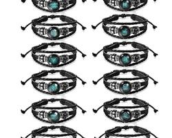 Bracelet cuir signe astrologique du Verseau