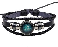 Bracelet cuir signe astrologique du Poisson