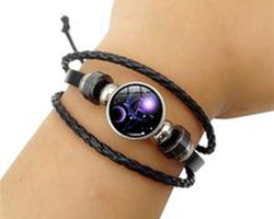 Bracelet cuir constellation zodiaque du Gémeaux