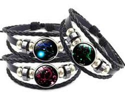 Bracelet cuir constellation zodiaque de la Vierge