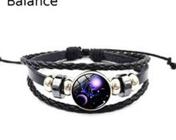 Bracelet cuir constellation zodiaque de la Balance